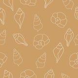 Картина бежевого вектора безшовная с seashells Стоковые Фото