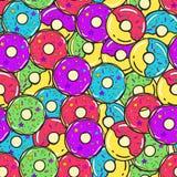 картина безшовная вектор Покрашенные donuts Стоковые Изображения