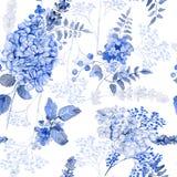 картина безшовная Гортензия акварели голубая, лаванда, смородина иллюстрация вектора