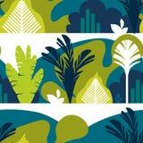 картина безшовная Деревья обширн-leaved тропические, папоротники большие горы горы ландшафта Плоский стиль Консервация окружающей иллюстрация вектора