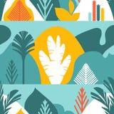 картина безшовная Деревья обширн-leaved тропические, папоротники Плоский стиль Консервация окружающей среды, леса парк, внешний иллюстрация штока