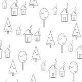 картина безшовная Дома на белой предпосылке Стоковая Фотография RF