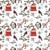 картина безшовная Картина зимы смешная в векторе иллюстрация вектора
