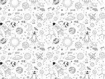 картина безшовная Космические установленные объекты Нарисованные рукой doodles вектора Ракеты, планеты, созвездия, ufo, звезды, e Стоковая Фотография RF