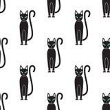 картина безшовная Кот на белой предпосылке Стоковое Изображение