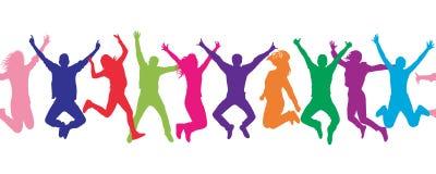 картина безшовная Люди жизнерадостной толпы скача цветасто бесплатная иллюстрация