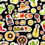 картина безшовная Мексиканский праздник Cinco de Mayo Пакет нарисованный рукой Стоковые Изображения