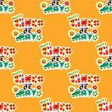 картина безшовная Мексиканский праздник Cinco de Mayo Пакет нарисованный рукой Стоковые Изображения RF