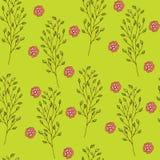 картина безшовная Милая картина в малом цветке Малые розовые и красные цветки с березой разветвляют Зеленая предпосылка Стоковое Фото