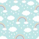 картина безшовная Падение дождя радуги облака в небе Оформление детей младенца милого kawaii мультфильма смешное Упаковочная бума иллюстрация штока