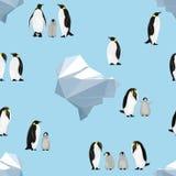 картина безшовная Пингвины императора на голубой предпосылке айсберги иллюстрация вектора