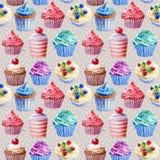 картина безшовная Пирожные акварели, булочки бесплатная иллюстрация