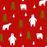 картина безшовная Полярный медведь на красной предпосылке Стоковое Изображение