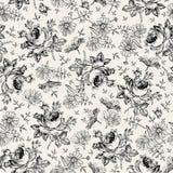 картина безшовная Реалистические изолированные цветки Винтажная барочная предпосылка Стоцвет поднял обои Гравировка чертежа иллюстрация вектора
