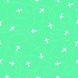 картина безшовная Самолеты вектора с траекториями Стоковое Изображение