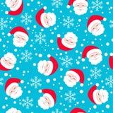 картина безшовная Санта Клаус на голубой предпосылке Стоковая Фотография