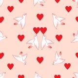 картина безшовная Сердца и птицы Валентайн дня s иллюстрация вектора