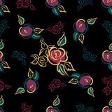картина безшовная Флористическая печать розы поединка декоративно Черная предпосылка вектор иллюстрация штока