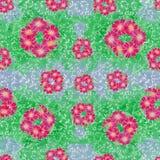 картина безшовная Цветки и листья - фоновое изображение акварели - декоративный состав Стоковая Фотография
