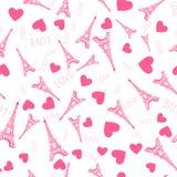 картина безшовная Эйфелева башня чернил иллюстрации розовая Украшения вектора изолированные на белой предпосылке иллюстрация штока