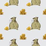 картина безшовная Элементы чертежа руки денег Стоковое Изображение