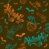 картина безшовная halloween литерность Смешной изверг тыквы шаржа в шляпе ведьмы batavia Изверг кота абстрактный коричневый цвет  иллюстрация штока