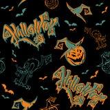 картина безшовная halloween литерность Смешной изверг тыквы шаржа в шляпе ведьмы batavia Изверг кота вектор бесплатная иллюстрация
