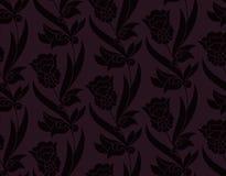 Картина безшовного вектора темная фиолетовая с цветками r дизайн для печати, woodblock, ткани иллюстрация вектора