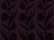 Картина безшовного вектора темная фиолетовая с цветками r дизайн для печати, woodblock, ткани бесплатная иллюстрация