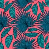 Картина безшовного вектора тропическая Тропические листья цвета, листья джунглей Стоковое Изображение