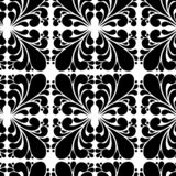 Картина безшовного вектора черно-белая от абстрактных лист стоковые фото