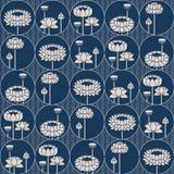 Картина безшовного вектора японская с lotos цветет в кругах дизайн для упаковки, интерьера, ткани Стоковые Изображения RF