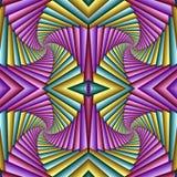Картина безшовного конспекта свирли праздничная, зеленый, желтая, маджента Крыть черепицей черепицей картина Геометрическая мозаи бесплатная иллюстрация