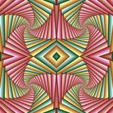 Картина безшовного конспекта свирли праздничная, зеленый, желтый, розовая Крыть черепицей черепицей картина Геометрическая мозаик иллюстрация штока