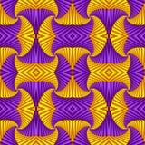Картина безшовного конспекта свирли праздничная, пурпурный, желтая Крыть черепицей черепицей картина Геометрическая мозаика Больш иллюстрация вектора
