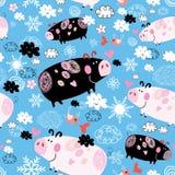 Картина безшовного праздничная Нового Года со свиньями бесплатная иллюстрация