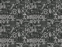 Картина безшовного doodle медицинская Стоковая Фотография RF