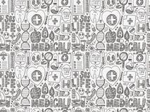 Картина безшовного doodle медицинская Стоковое Фото