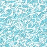 Картина безшовной волны нарисованная вручную Иллюстрация вектора