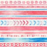 Картина безшовной нарисованной вручную акварели этническая племенная орнаментальная Стоковое Изображение RF