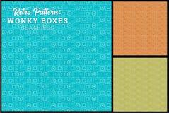 Картина безшовной ретро коробки тонкая в 3 вариантах цвета Стоковое Изображение RF