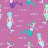 Картина безшовной русалки ребяческая рисуя с милыми русалками и морскими животными для иллюстрации вектора моды младенца и детей иллюстрация вектора