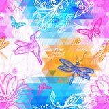 Картина безшовных абстрактных обоев геометрическая треугольников иллюстрация штока