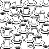 Картина белого кофе черного кофе безшовная Стоковое фото RF