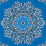 Картина белых цветков миндалины калейдоскоп, мандала Стоковое Изображение RF