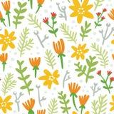 Картина белой предпосылки безшовная с красочными цветками иллюстрация штока