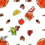 Картина благодарения шаржа милой нарисованная рукой безшовная Линия искусство детализированное, с сериями предпосылки объектов ил Стоковая Фотография RF