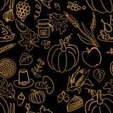 Картина благодарения шаржа милой нарисованная рукой безшовная Линия искусство детализированное, с сериями предпосылки объектов ил Стоковое Фото
