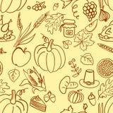 Картина благодарения шаржа милой нарисованная рукой безшовная Линия искусство детализированное, с сериями предпосылки объектов ил Стоковые Изображения