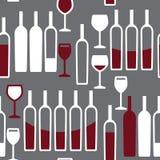 Картина бокалов и бутылок безшовная Стоковая Фотография RF